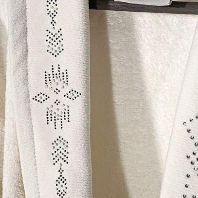Μπουρνούζι με γιακά και strass Art 3090 - M-L Εκρού Beauty Home