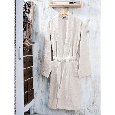 Μπουρνούζι με γιακά ζακάρ Art 3180 - L Μπεζ Beauty Home