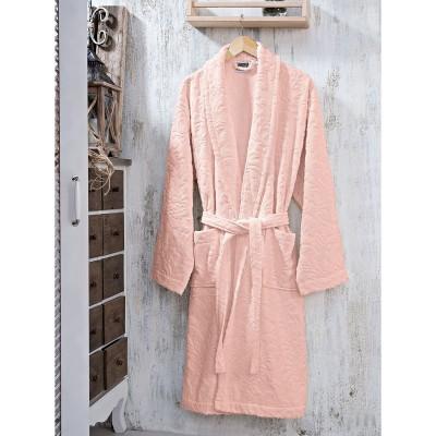 Μπουρνούζι με γιακά ζακάρ Art 3180 - M Ροζ Beauty Home