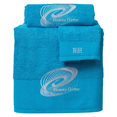 Σετ πετσέτες Art 3249  Σετ 3τμχ  Γαλάζιο Beauty Home
