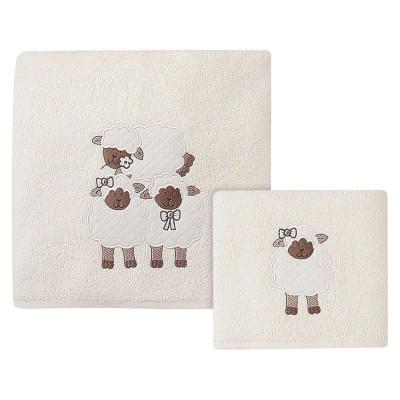 Σετ πετσέτες Game on Art 5103 - Σετ 2τμχ Εκρού, Μπεζ Beauty Home