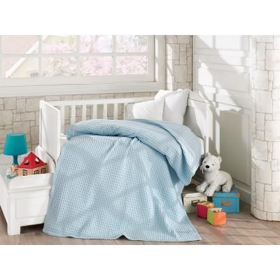 Κουβέρτα πικέ σε 4 χρώματα Art 5116  120x160 - Γαλάζιο Beauty Home