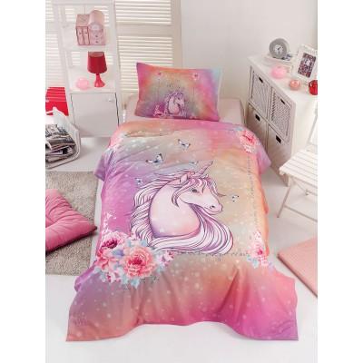 Σετ σεντόνια μονά Unicorn Art 6114 - 160x240 Ροζ Beauty Home