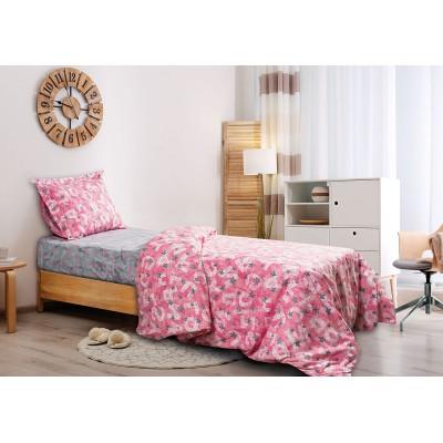 Κουβερλί μονό Characters Art 6126 - 160x240 Γκρι, Ροζ Beauty Home
