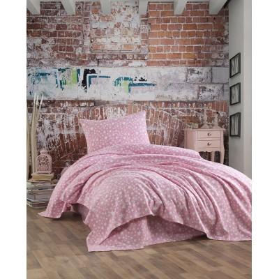 Σετ σεντόνια φανελένια μονά Art 1758 - 170x240 Ροζ Beauty Home
