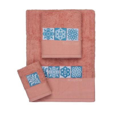 Σετ πετσέτες Art 3309  Σετ 3τμχ Κοραλί Beauty Home