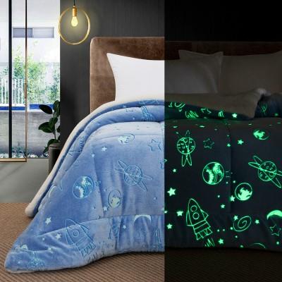 Κουβερτοπάπλωμα μονό φωσφοριζέ Art 6156 160x220 Γαλάζιο Beauty Home