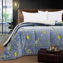 Κουβερτοπάπλωμα μονό φωσφοριζέ Art 6158 160x220 Γαλάζιο Beauty Home