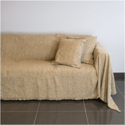 Ριχτάρι διθέσιου καναπέ 250x180cm, ακρυλικό σενίλ, μπεζ, ελληνικής κατασκευής FENNEL 18C01BG2