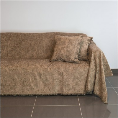 Ριχτάρι διθέσιου καναπέ 250x180cm, ακρυλικό σενίλ, καφέ, ελληνικής κατασκευής FENNEL 21C01BR2