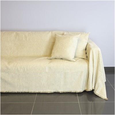 Ριχτάρι τετραθέσιου καναπέ 350x180cm, ακρυλικό σενίλ, ιβουάρ, ελληνικής κατασκευής FENNEL 18C01IV4