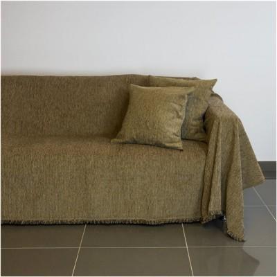 Ριχτάρι διθέσιου καναπέ 250x180cm, ακρυλικό σενίλ, καφέ, ελληνικής κατασκευής FENNEL 30255