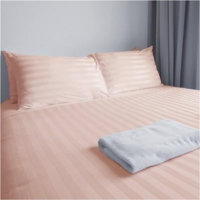 Σεντόνι μονό 170x270cm, 100% βαμβακοσατέν ριγέ, 200 κλωστές, μερσεριζέ siliconized, ροζ FENNEL 30978