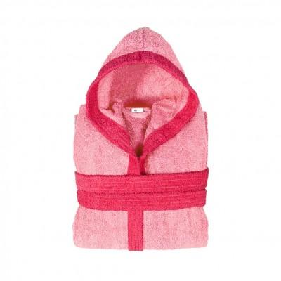 Μπουρνούζι δίχρωμο με κουκούλα, Small, ροζ, Σειρά BiColor, 420gr/m², Πενιέ,  FENNEL 31080