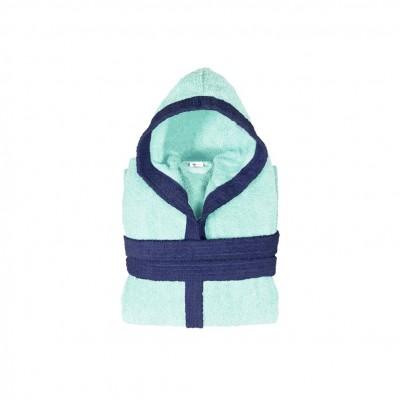 Μπουρνούζι παιδικό δίχρωμο με κουκούλα, ηλικίας 6-8, γαλάζιο, Σειρά BiColor, 420gr/m², Πενιέ,  FENNEL 31100