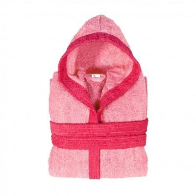 Μπουρνούζι δίχρωμο με κουκούλα, Medium, ροζ, Σειρά BiColor, 420gr/m², Πενιέ,  FENNEL 31081