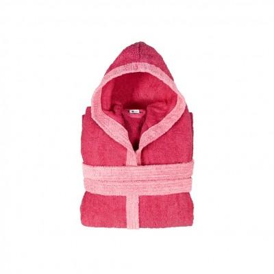 Μπουρνούζι παιδικό δίχρωμο με κουκούλα, ηλικίας 8-10, φούξια, Σειρά BiColor, 420gr/m², Πενιέ,  FENNEL 31111