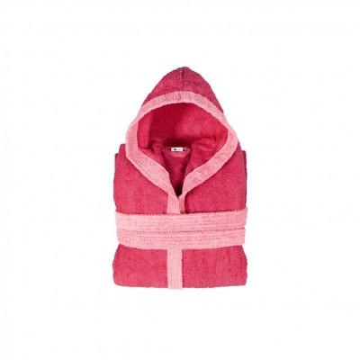 Μπουρνούζι παιδικό δίχρωμο με κουκούλα, ηλικίας 4-6, φούξια, Σειρά BiColor, 420gr/m², Πενιέ,  FENNEL 31109