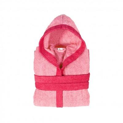 Μπουρνούζι παιδικό δίχρωμο με κουκούλα, ηλικίας 12-14, ροζ, Σειρά BiColor, 420gr/m², Πενιέ,  FENNEL 31108