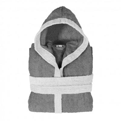 Μπουρνούζι δίχρωμο με κουκούλα, Large, γκρι σκούρο, Σειρά BiColor, 420gr/m², Πενιέ,  FENNEL 31091