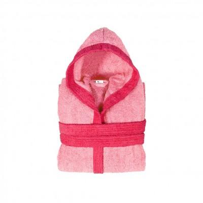 Μπουρνούζι παιδικό δίχρωμο με κουκούλα, ηλικίας 10-12, ροζ, Σειρά BiColor, 420gr/m², Πενιέ,  FENNEL 31107