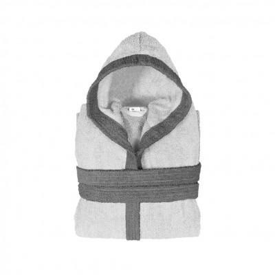 Μπουρνούζι παιδικό δίχρωμο με κουκούλα, ηλικίας 12-14, γκρι ανοιχτό, Σειρά BiColor, 420gr/m², Πενιέ,  FENNEL 31115