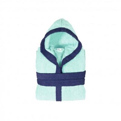 Μπουρνούζι παιδικό δίχρωμο με κουκούλα, ηλικίας 8-10, γαλάζιο, Σειρά BiColor, 420gr/m², Πενιέ,  FENNEL 31101