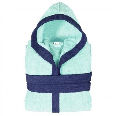 Μπουρνούζι δίχρωμο με κουκούλα, XL, γαλάζιο, Σειρά BiColor, 420gr/m², Πενιέ,  FENNEL 31078