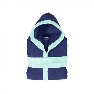 Μπουρνούζι παιδικό δίχρωμο με κουκούλα, ηλικίας 10-12, μπλε, Σειρά BiColor, 420gr/m², Πενιέ,  FENNEL 31097