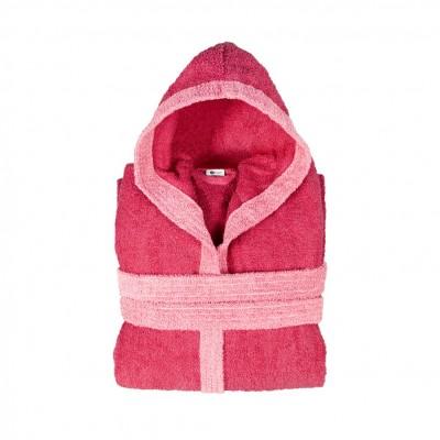 Μπουρνούζι δίχρωμο με κουκούλα, Small, φούξια, Σειρά BiColor, 420gr/m², Πενιέ,  FENNEL 31083