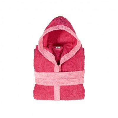 Μπουρνούζι παιδικό δίχρωμο με κουκούλα, ηλικίας 10-12, φούξια, Σειρά BiColor, 420gr/m², Πενιέ,  FENNEL 31112