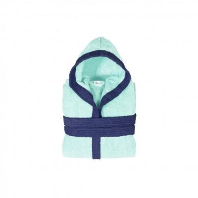 Μπουρνούζι παιδικό δίχρωμο με κουκούλα, ηλικίας 4-6, γαλάζιο, Σειρά BiColor, 420gr/m², Πενιέ,  FENNEL 31099