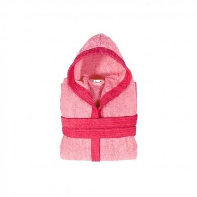 Μπουρνούζι παιδικό δίχρωμο με κουκούλα, ηλικίας 6-8, ροζ, Σειρά BiColor, 420gr/m², Πενιέ,  FENNEL 31105