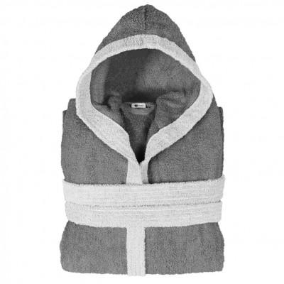 Μπουρνούζι δίχρωμο με κουκούλα, XL, γκρι σκούρο, Σειρά BiColor, 420gr/m², Πενιέ,  FENNEL 31092