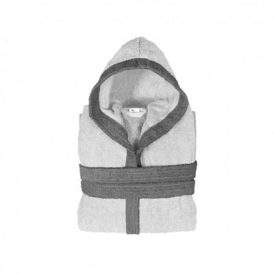 Μπουρνούζι παιδικό δίχρωμο με κουκούλα, ηλικίας 10-12, γκρι ανοιχτό, Σειρά BiColor, 420gr/m², Πενιέ,  FENNEL 31114