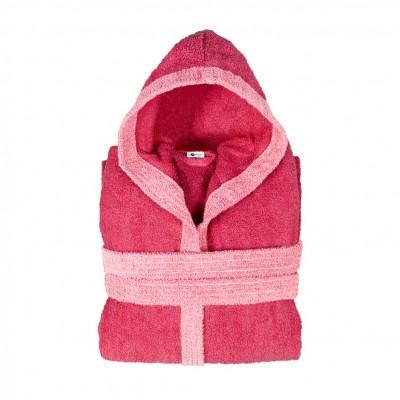Μπουρνούζι δίχρωμο με κουκούλα, Medium, φούξια, Σειρά BiColor, 420gr/m², Πενιέ,  FENNEL 31084