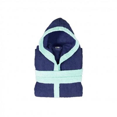 Μπουρνούζι παιδικό δίχρωμο με κουκούλα, ηλικίας 8-10, μπλε, Σειρά BiColor, 420gr/m², Πενιέ,  FENNEL 31096