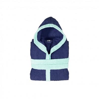 Μπουρνούζι παιδικό δίχρωμο με κουκούλα, ηλικίας 6-8, μπλε, Σειρά BiColor, 420gr/m², Πενιέ,  FENNEL 31095