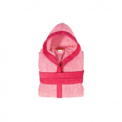 Μπουρνούζι παιδικό δίχρωμο με κουκούλα, ηλικίας 4-6, ροζ, Σειρά BiColor, 420gr/m², Πενιέ,  FENNEL 31104