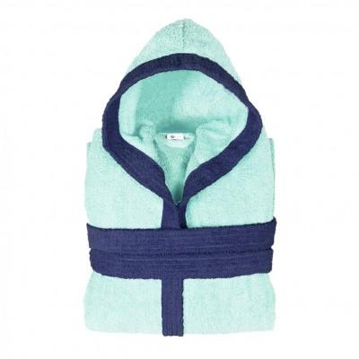 Μπουρνούζι δίχρωμο με κουκούλα, Large, γαλάζιο, Σειρά BiColor, 420gr/m², Πενιέ,  FENNEL 31077