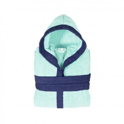 Μπουρνούζι παιδικό δίχρωμο με κουκούλα, ηλικίας 12-14, γαλάζιο, Σειρά BiColor, 420gr/m², Πενιέ,  FENNEL 31103