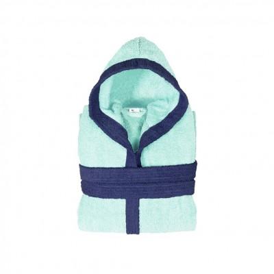 Μπουρνούζι παιδικό δίχρωμο με κουκούλα, ηλικίας 10-12, γαλάζιο, Σειρά BiColor, 420gr/m², Πενιέ,  FENNEL 31102