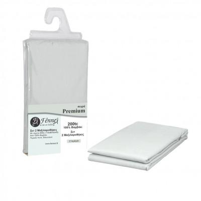 Σετ 2 μαξιλαροθήκες 52x72+15cm, 100% βαμβ. Περκάλι πενιέ, siliconized, 200 κλωστές, γκρι FENNEL P200-P-GR