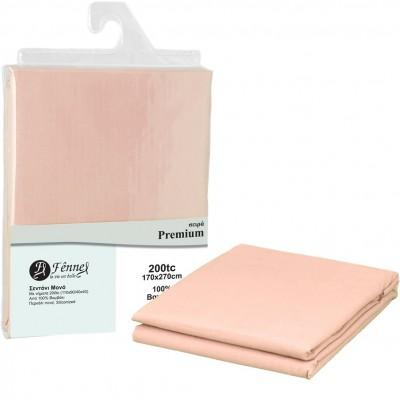 Σεντόνι μονό 170x270 (3+1), 100% βαμβ. περκάλι πενιέ, siliconized, 200 κλωστές, ροζ FENNEL 31055