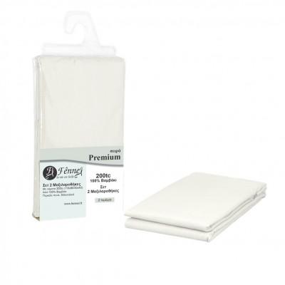 Σετ 2 μαξιλαροθήκες 52x72+15cm, 100% βαμβ. Περκάλι πενιέ, siliconized, 200 κλωστές, πάγου FENNEL P200-P-WHW