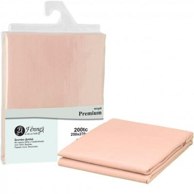 Σεντόνι διπλό 250x270 (4+1), 100% βαμβ. περκάλι πενιέ, siliconized, 200 κλωστές, ροζ FENNEL 31056
