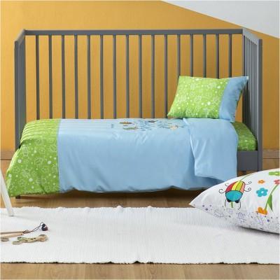 Σετ Παιδική Παπλωματοθήκη 110x145cm & Μαξιλαροθήκη 30x40cm, 100% Βαμβακι, με σχέδιο Μπάμπουρας, χρώμα Γαλάζιο ZOUZOUNIA ZOU-BD-023
