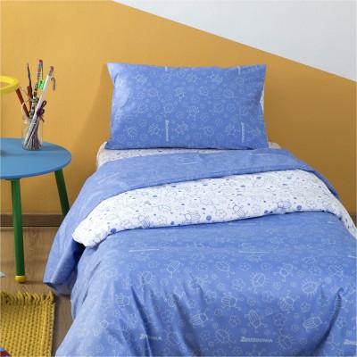 Σετ Παιδική Παπλωματοθήκη 160x240cm & Μαξιλαροθήκη 50x70cm, 100% Βαμβακι, με σχέδιο Μπάμπουρας, χρώμα Γαλάζιο ZOUZOUNIA ZOU-BD-028