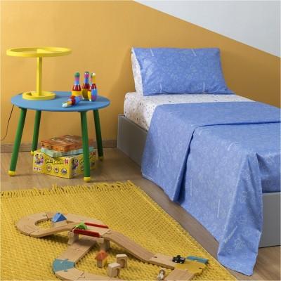 Σετ Παιδικά Σεντόνια 160x260cm & Μαξιλαροθήκη 50x70cm, με σχέδιο Μπάμπουρας, χρώμα Γαλάζιο ZOUZOUNIA ZOU-BD-014