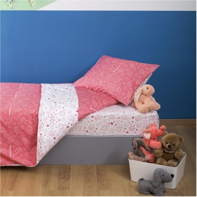 Σετ Παιδική Παπλωματοθήκη 160x240cm & Μαξιλαροθήκη 50x70cm, 100% Βαμβακι, με σχέδιο Μπάμπουρας, χρώμα Ροζ ZOUZOUNIA ZOU-BD-027